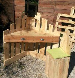 robust wooden pallet corner desk and chair set