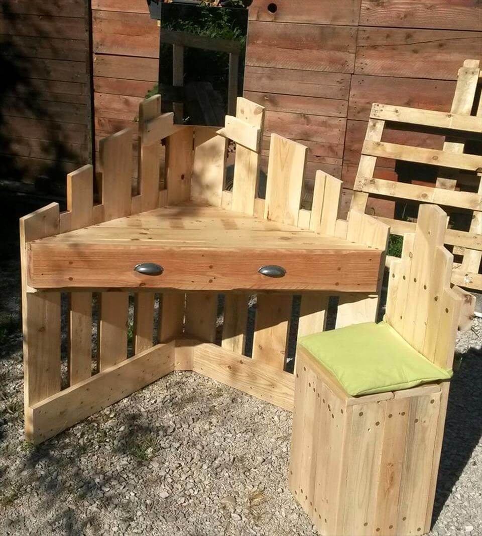 robust wooden pallet corner desk and chair set
