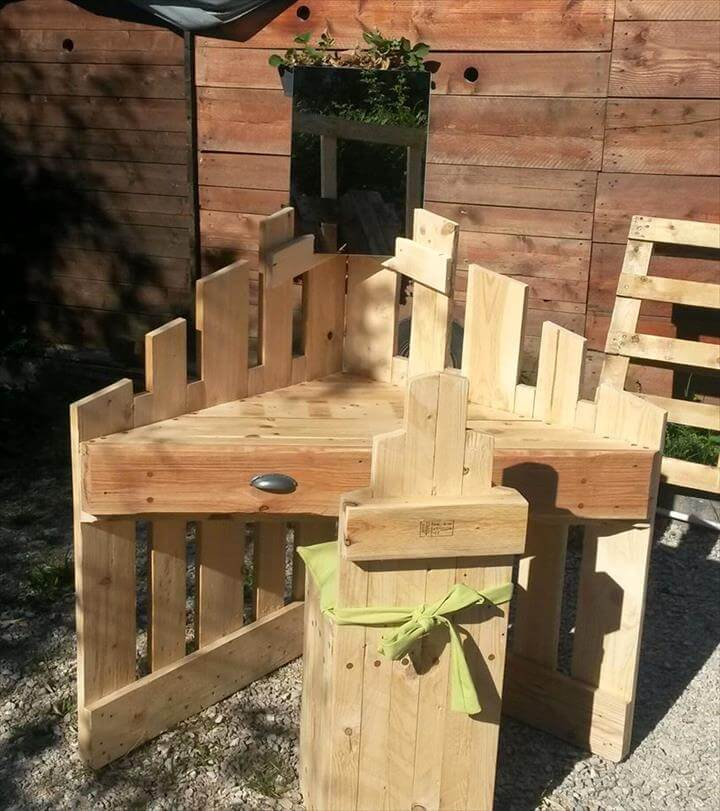 handmade pallet sectional desk and chair set for kids
