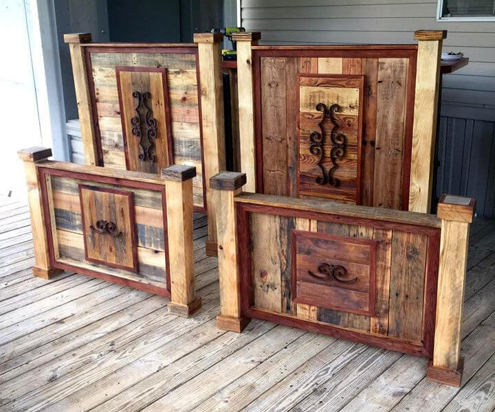 reclaimed pallet art style footboard and headboard sets