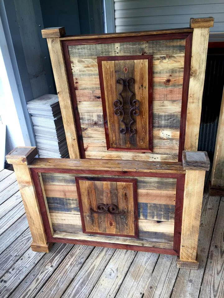 art style set of pallet headboard and footboard