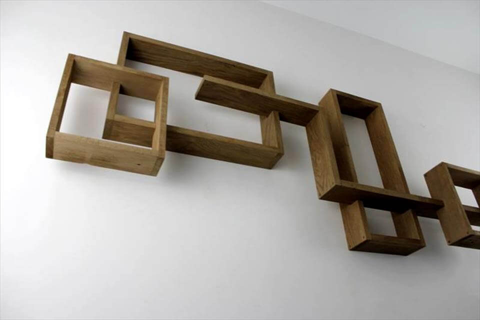 no-cost pallet geometrical wall shelves