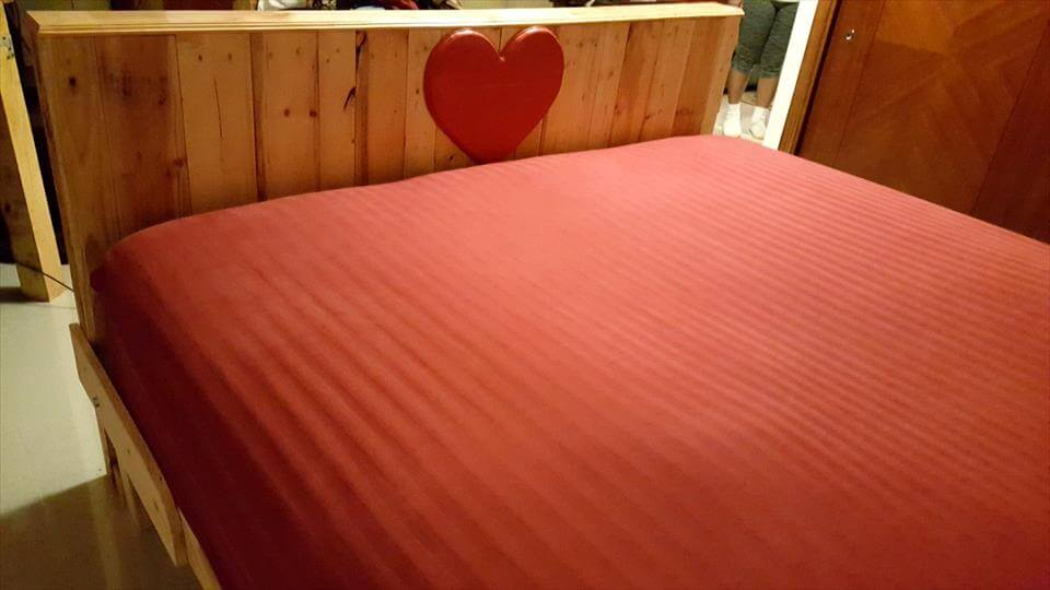 handcrafted wooden pallet king bed with headboard and footboard