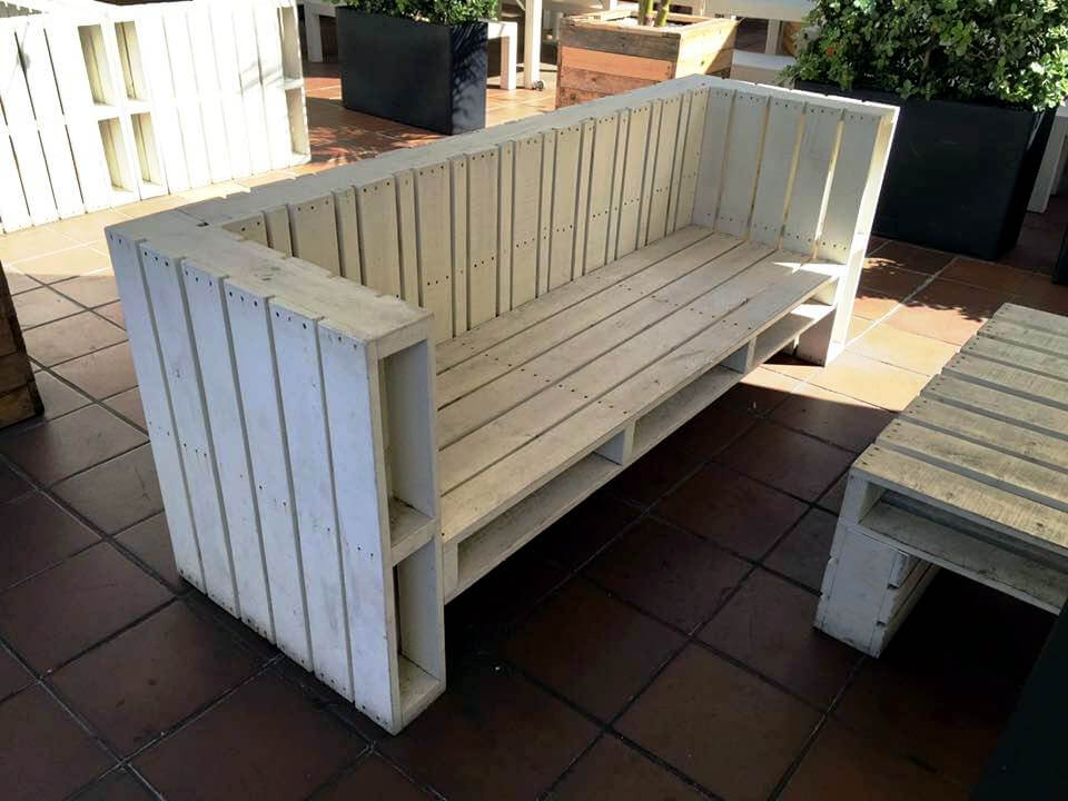 white painted pallet block style couch