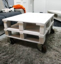 chic white mini pallet coffee table