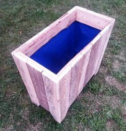 recycled pallet garbage bin or planter box