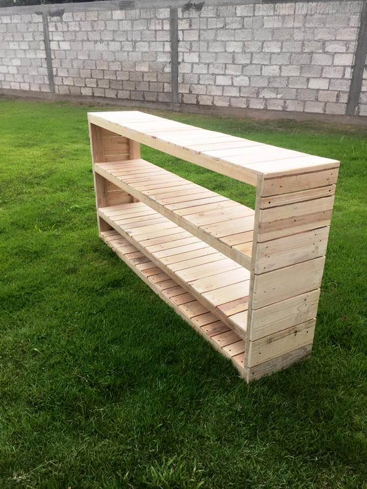 handmade pallet shelving unit or console