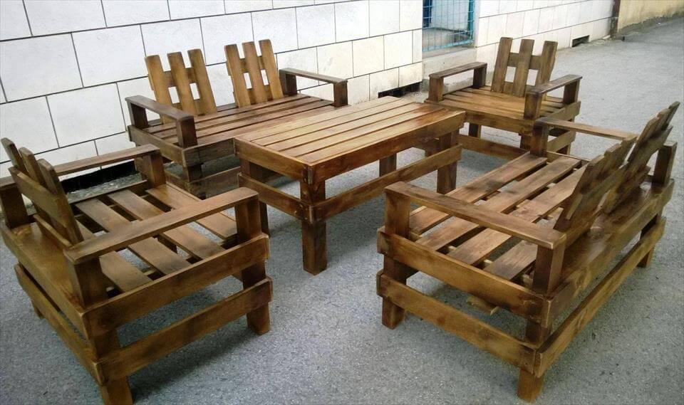 reclaimed pallet sitting furniture set