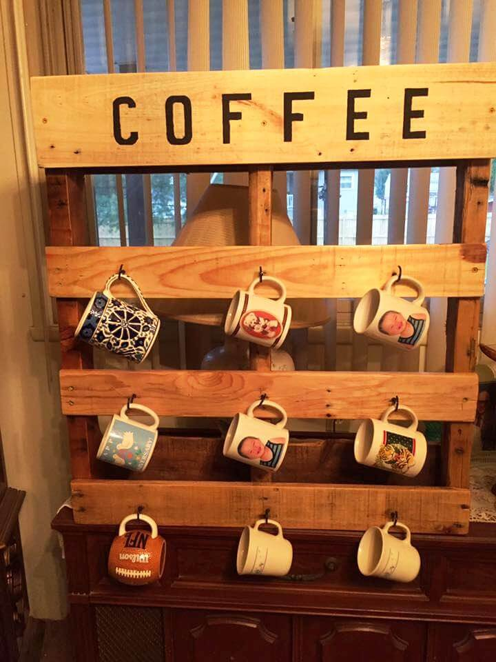 pallet coffee mug rack built to last