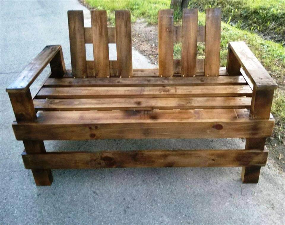 handmade pallet double chair bench