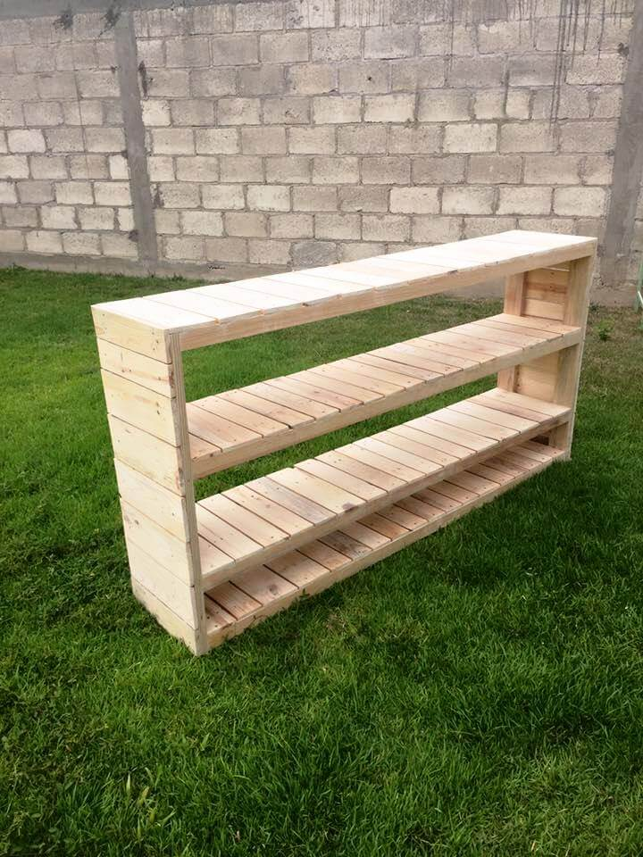 Pallet Console Table With 3 Built In Shelves