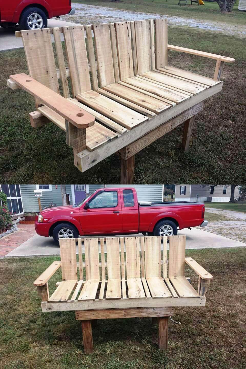 reclaimed wooden pallet swing seat