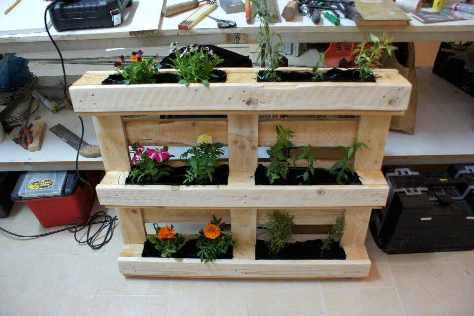 wooden pallet vertical flower garden or planter