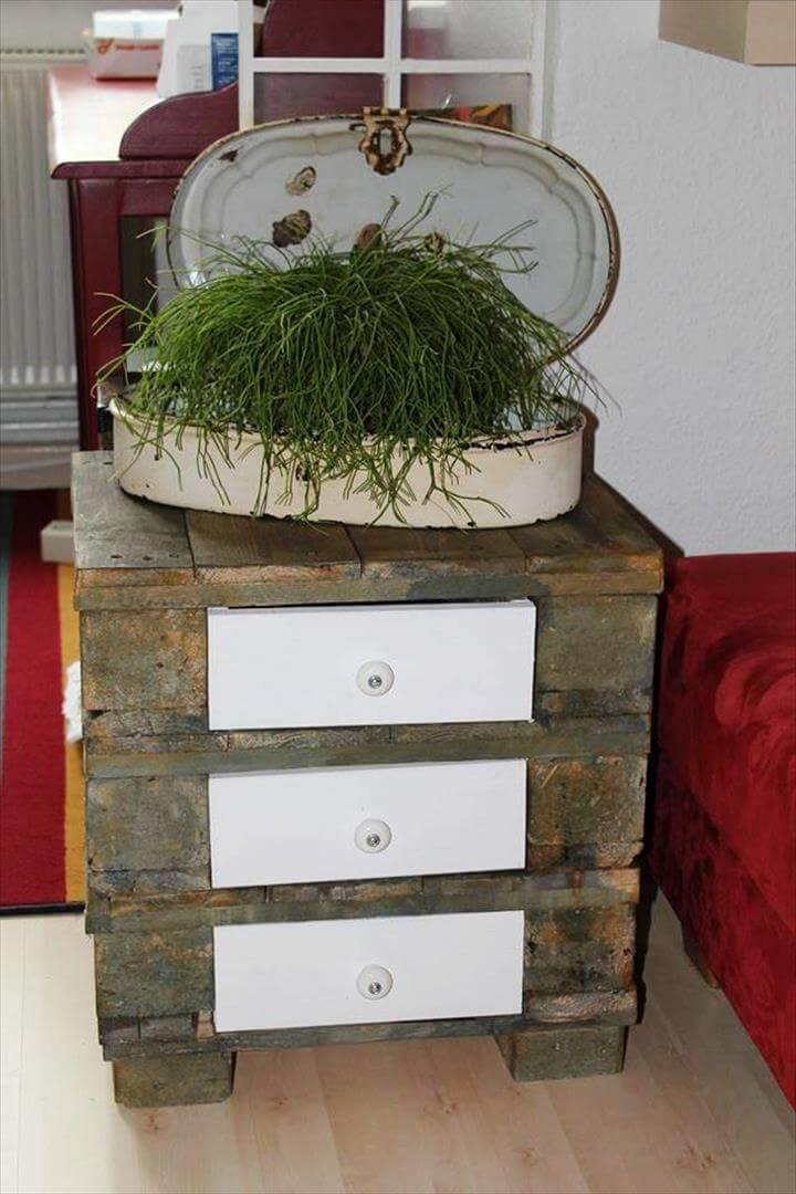 wooden pallet nightstand with 3 built in drawers
