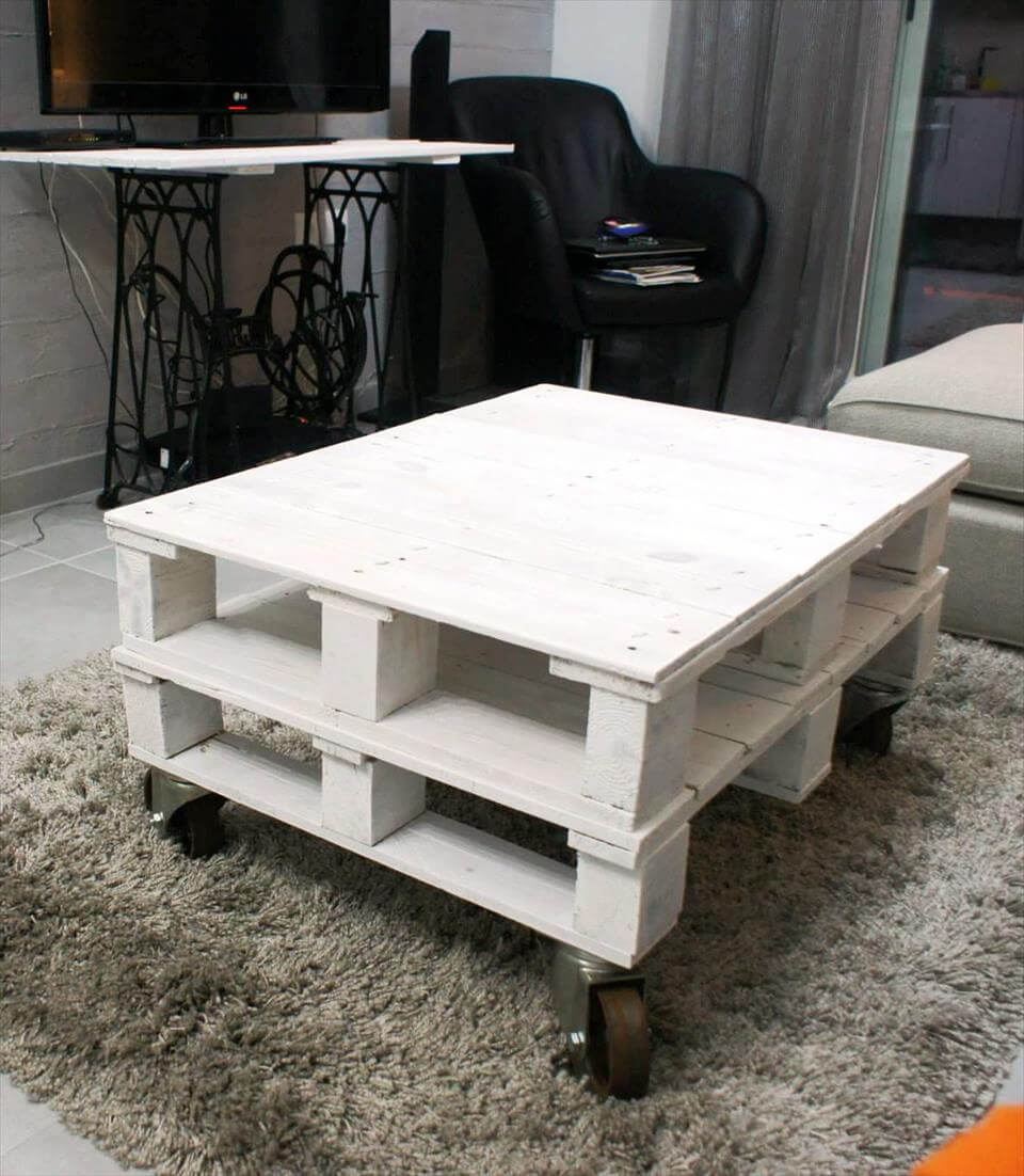 Diy White Painted Pallet Coffee Table Pallet Furniture Diy