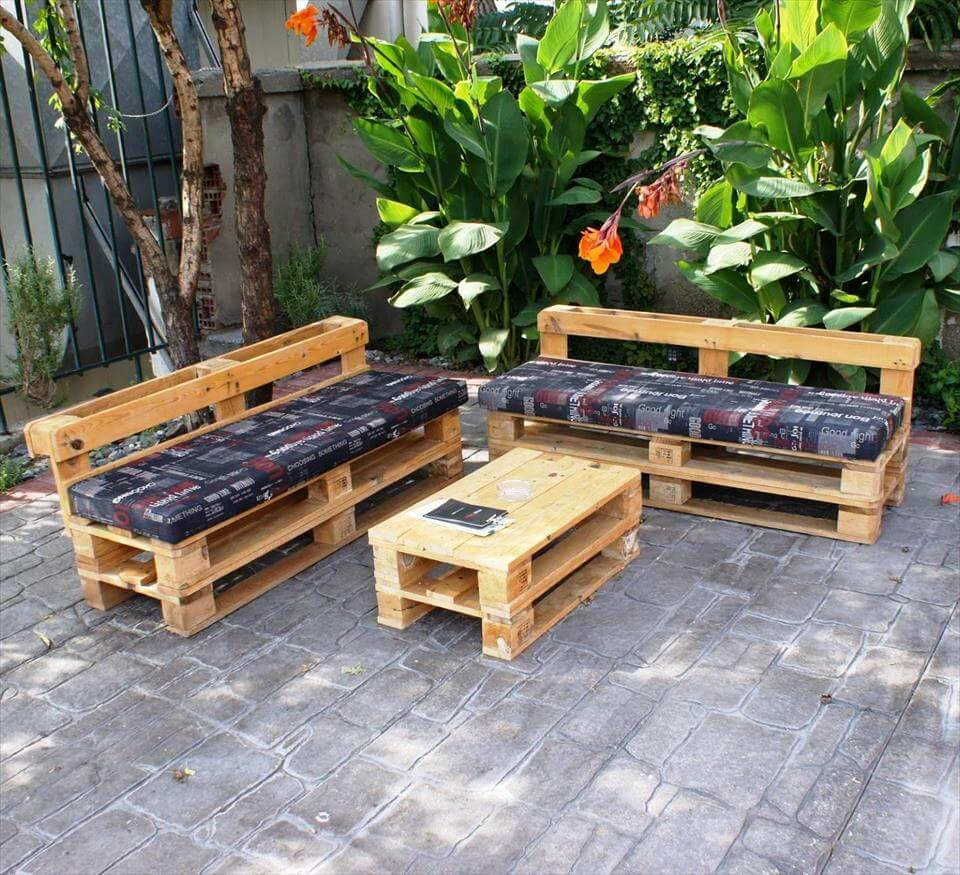upcycled cushioned seats and coffee table