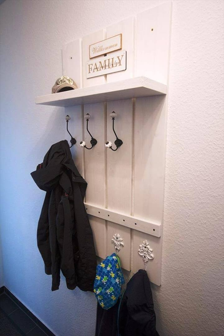 low-cost white painted pallet wall hooks